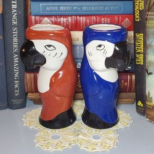Parrot Tiki Ceramic Mugs Macaw Set of Two (2)